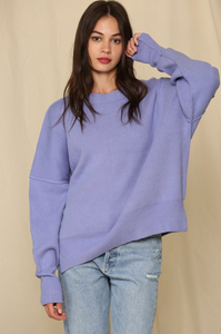 Periwinkle Oversized Crew Neck Sweater