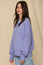 Load image into Gallery viewer, Periwinkle Oversized Crew Neck Sweater