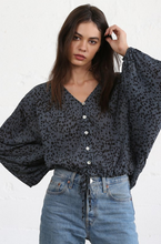Load image into Gallery viewer, Balloon Sleeve Blouse - Blue with Dots