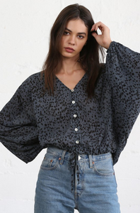 Balloon Sleeve Blouse - Blue with Dots