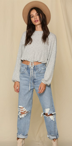 Long Sleeved Knit Rib Oversized Top with Waist String