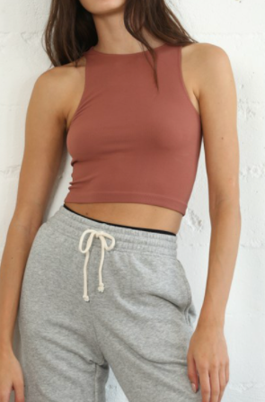 Seamless Ribbed Sleeveless Crew Neck Crop Top - Chestnut