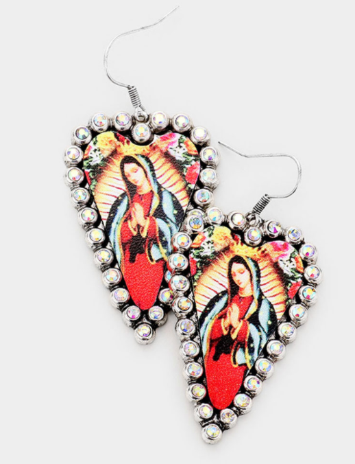 Virgin Mary Accented Earrings Burnished Silver
