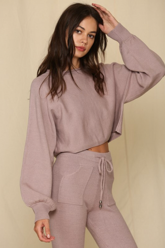 Dusty Mauve Sweater Crop Top