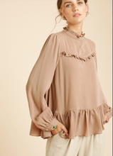 Load image into Gallery viewer, Mocha Ruffled Detail Blouse