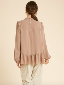 Mocha Ruffled Detail Blouse