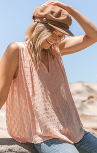 Sheer Jacquard Sleeveless Trapeze Tank Top