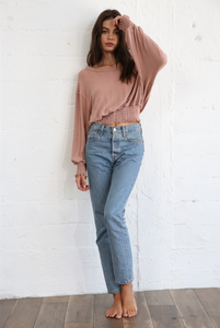 Ribbed & Gathered Blouse - Antique Rose