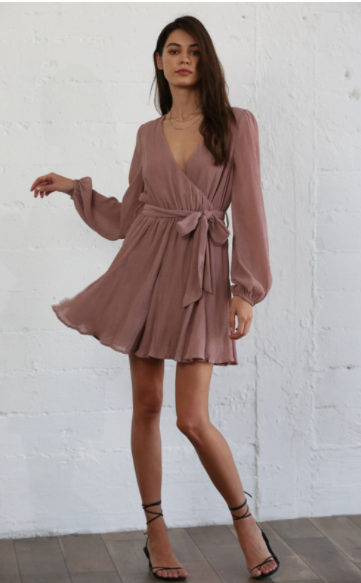 Dark Mauve Chiffon Dress