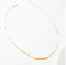 Load image into Gallery viewer, Engraved Bar Pendant: Manifest Good - 14K Gold-Plated