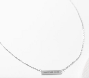 Engraved Bar Pendant: Manifest Good - Sterling Silver