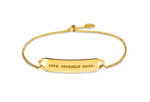 "Load image into Gallery viewer, Mini Fortune Bracelet: ""Love yourself hard"" - 14K Gold-Dipped Silver"