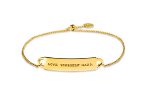 "Mini Fortune Bracelet: ""Love yourself hard"" - 14K Gold-Dipped Silver"
