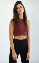 Load image into Gallery viewer, Burgundy Seamless Ribbed Sleeveless Crew Neck Crop Top