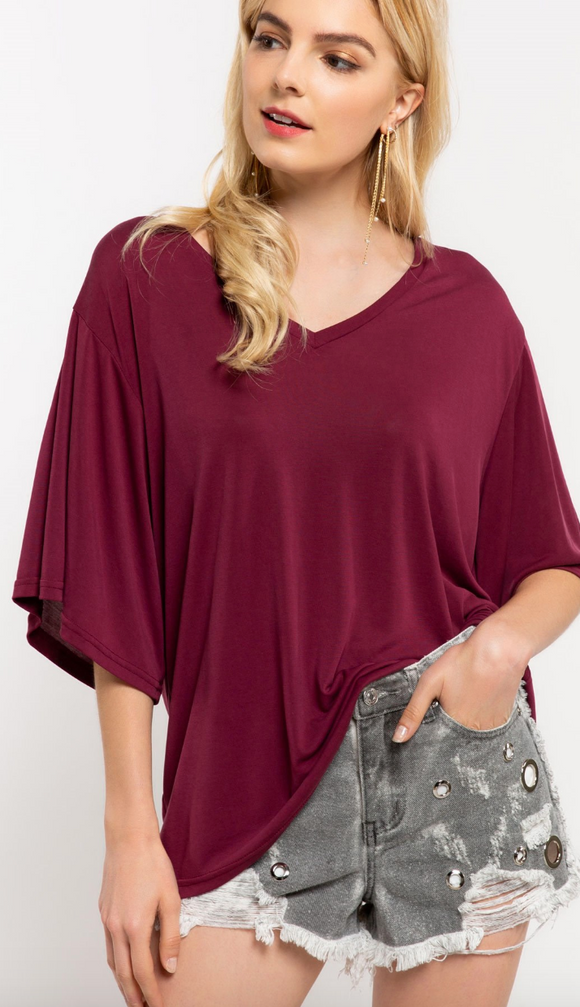 Basic V Neck Tee - Burgundy