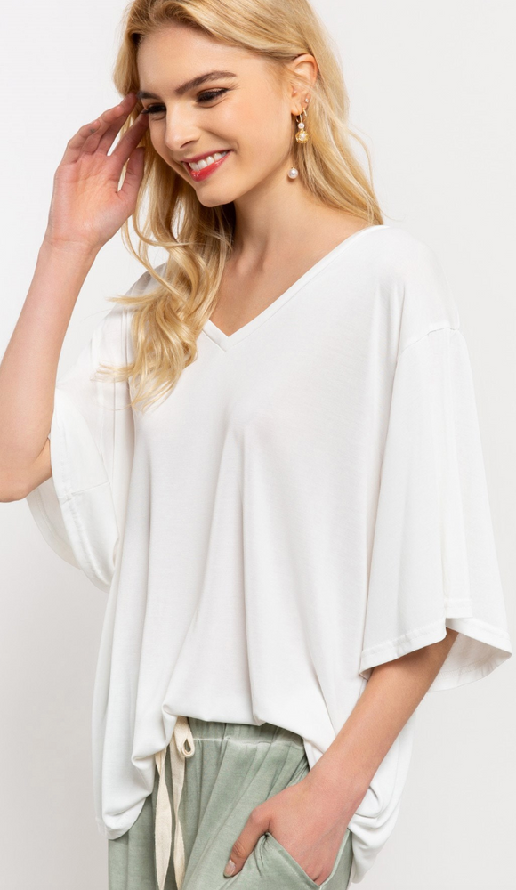 Basic V Neck Tee - Off White