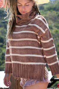 FINAL SALE - Striped Turtleneck - Ginger