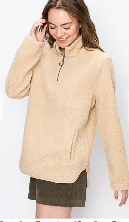 FINAL SALE - Long Sherpa Pullover - Beige