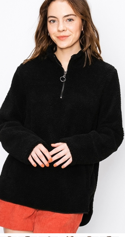 FINAL SALE - Long Sherpa Pullover - Black