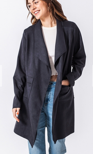 Suede Long Blazer
