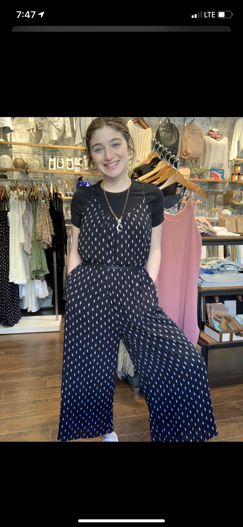 Leaf Print Jumpsuit - Black
