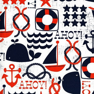 Ahoy Matey by Michael Miller - All things Ocean (white)