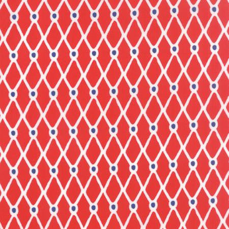 Beach House by Kate Nelligan - Geometric Fishnet Red