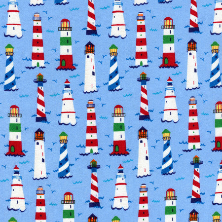 Mini Coastals by Timeless Treasures - Lighthouses (Blue)