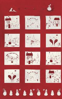 Winter Wonderland by Bunny Hill Designs - Redwork Panel Red