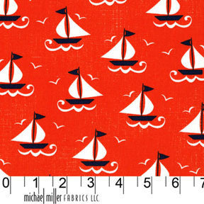 Ahoy Matey by Michael Miller- Ship Shape (coral)