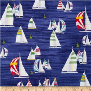 Coastal Breeze by Paul Brent - Sailboats (Navy)