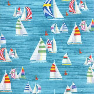Coastal Breeze by Paul Brent - Sailboats (Aqua)