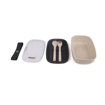 Natural Fiber Salad Box with Utensils and Dressing Container