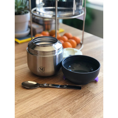 Triple Insulated Food Containers with Bowl and Spoon