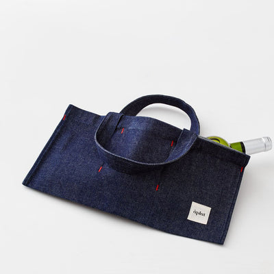 Denim Horizontal Wine Tote