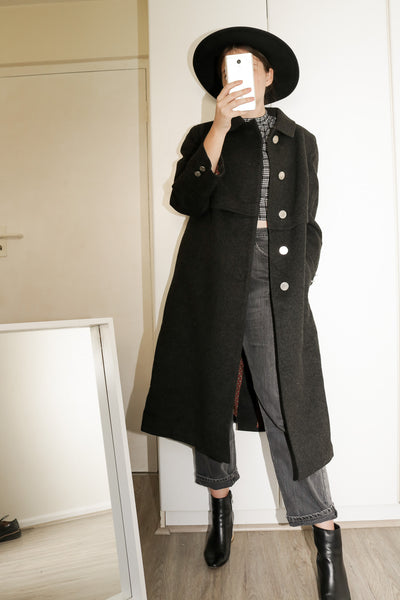Model wearing Vintage Alpaca wool coat