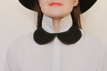 Black cotton exaggerated collar