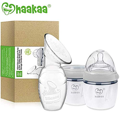 Haakaa Manual Breast Pump with Milk Bottle Storage Milk Bottle (4oz/100ml Pump + 160ml Milk Bottle +160ml Storage Milk Bottle)