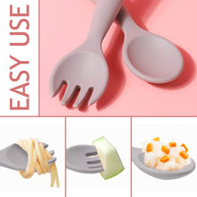 Load image into Gallery viewer, Haakaa Silicone Toddler Utensils Bendy Spoon and Fork with A Handy Storage Case Baby Cutlery Set Made of Food Grade Silicone, SUVA Grey