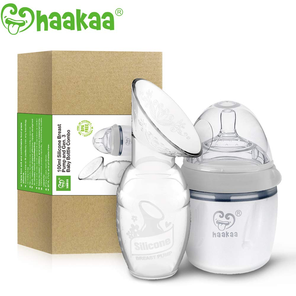 Haakaa Manual Breast Pump with Milk Bottle (4oz/100ml Pump + 160ml Milk Bottle)