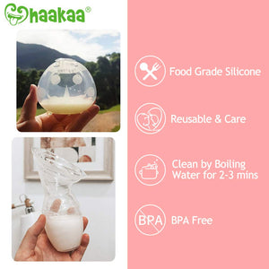 Haakaa Manual Breast Pump & Breast Shell Combo Breastmilk Collector for Breastfeeding Silicone Milk Catcher Nursing Cup Milk Saver Breastmilk Collector Soft and Reusable
