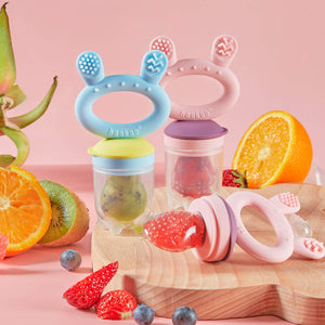 Baby Fruit Food Feeder Pacifier - Haakaa Silicone Feeder and Teether for Infant Safely Self Feeding,BPA Free Teething Relief Toy with Teether Clip&Travel Case