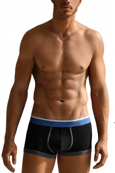 Black Boxer Brief with Azure Waistband