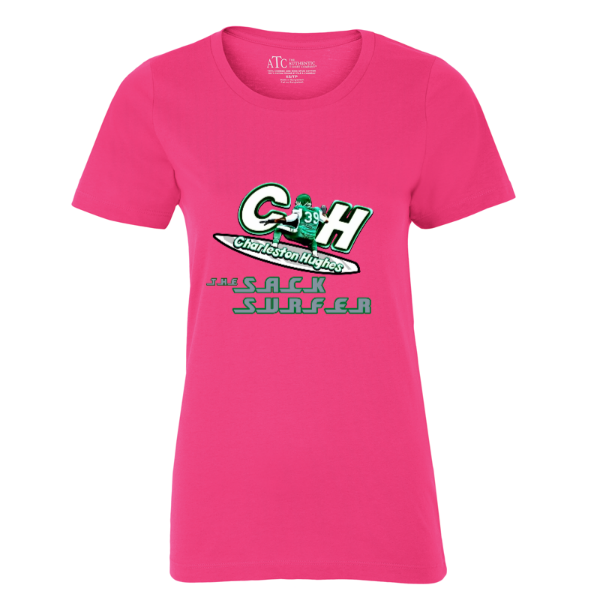 "Charleston Hughes ""The SackSurfer"" PINK LADIES' TEE."