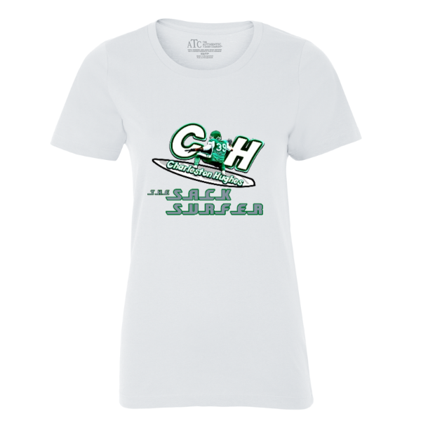 "Charleston Hughes ""The SackSurfer"" WHITE LADIES' TEE."