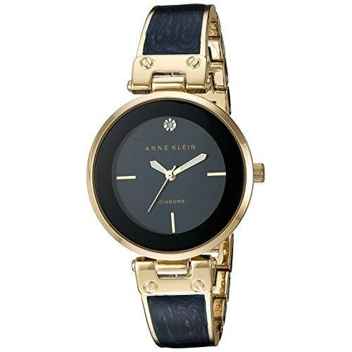 Anne Klein Goldtone and Navy Marble Bangle Watch