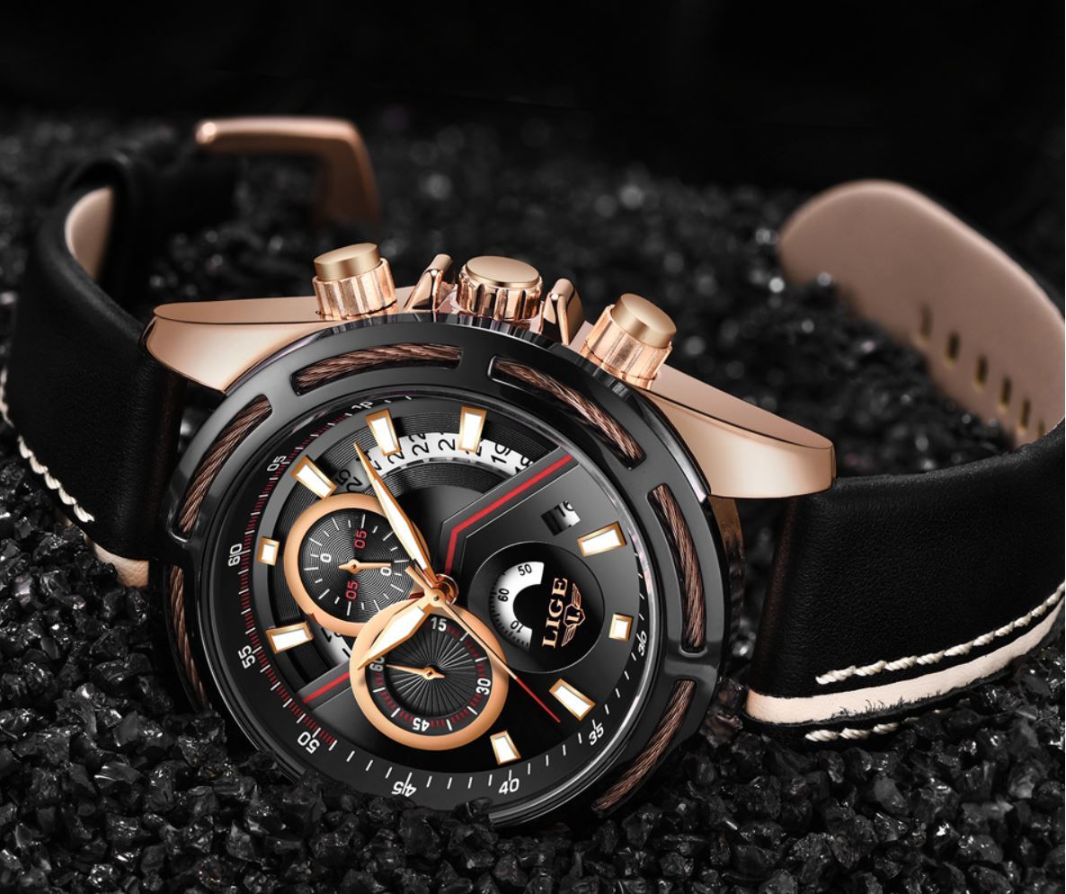 LIGE Men Luxury Sport Military Waterproof Wrist Watch - CHRONOGRAPH