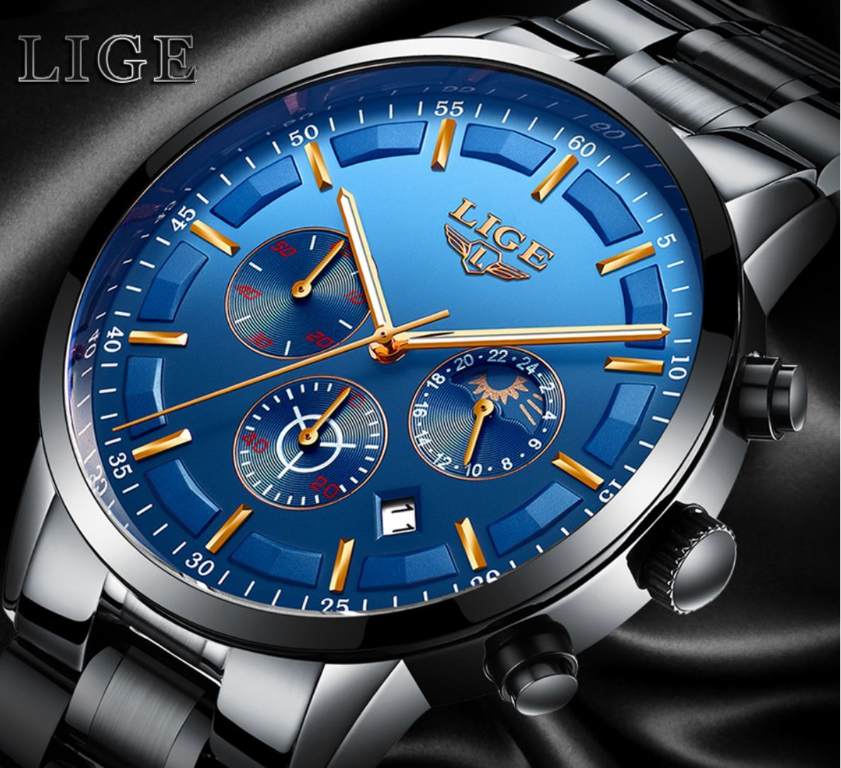 LIGE Casual Fashion All-Steel Chronograph Waterproof Watch