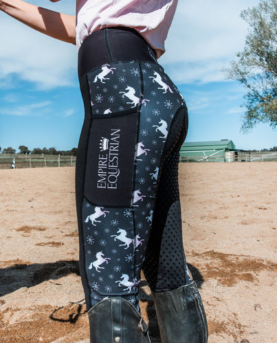 Unlined Riding Tights - BLACK UNICORN