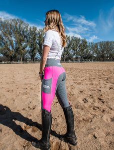 Winter Riding Tights - HOT PINK & GREY